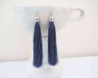 Charcoal Grey and Silver Long Tassel Earrings