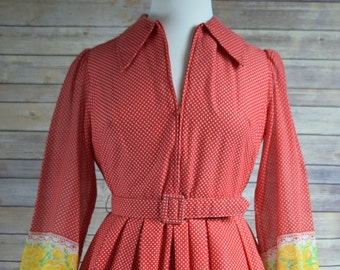 70s Plus Red Maxi Renaissance Hostess Dress Tall XL