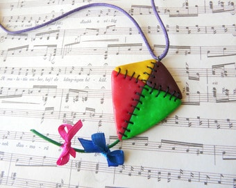 Kite Necklace, Childhood Necklace, Summer Necklace, Kite Jewelry, Summer Fun Jewelry, Colorful Necklace, Flying Kite Gift