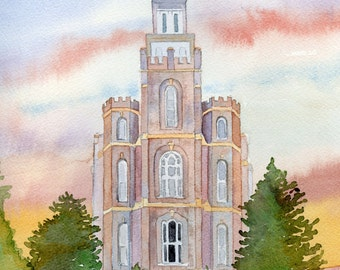 Logan LDS Temple- giclee print from original watercolor painting, LDS temple, temple painting, salt lake city