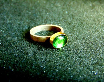 Silver and Gold Ring,Sterling Silver 18k Gold and Green Tourmaline Ring,Gemstone Dainty Ring,Womens Rings,Gift for Her,Artisan Jewelry