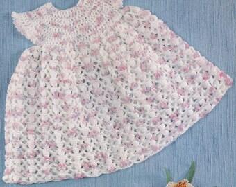 Vintage crochet pattern pretty baby dress pdf INSTANT download baby pattern only pdf 1970s