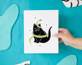 Mystical Cat Art Print - 1 Piece - 8x10 - Handdrawn - Snake Drawing - 3 Eyed Cat - Cat Lover Illustration - Cat Lady Print - Cat Lover Art