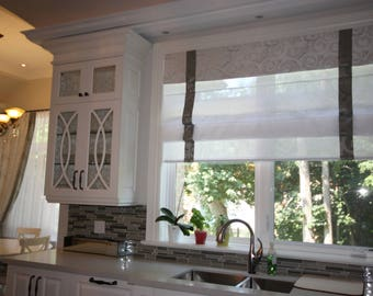 "Flat sheer linen  Roman Shade ""Pinnacle Combo"" with border and chain mechanism, Roman Shades, Window Treatment, Custom Made"