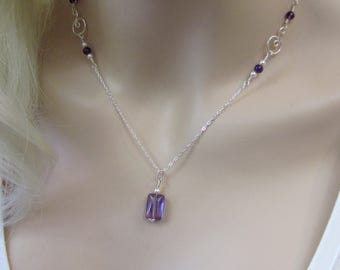 Delicate Amethyst Necklace in Sterling Silver, Amethyst Gemstone, Amethyst Jewelry, February Birthstone Necklace, Amethyst and Pearls