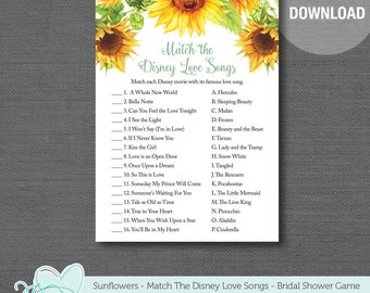 Sunflower Match the Disney Love Songs Bridal Shower Game Printable, Lingerie Shower, Bachelorette Party, Flowers, Floral, Yellow, Green, 40S