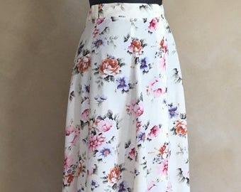 Vintage 80's Floral Satin Skirt