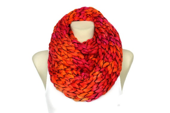 Knit Red Scarf Wool Circle Snood Chunky Knit Scarf Big Oversized Scarf Winter Large Snood Oversized Wool Scarf Stocking Filler Secret Santa