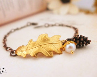 Oak Leaf Bracelet, Oak Leaf Jewelry, Pinecone Bracelet, Pinecone Jewelry, Nature Bracelet Woodland Bracelet Wedding Bracelet Bridesmaid Gift