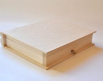 Wooden Box Book with Lock. Unfinished Wood Box. Unpainted Wood Box. Wooden Storage Box. Decoupage Box PZ286