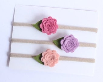 Set of 3 - Spring headband, Felt Mini Roses Headband, Baby Girl Headband, Felt Flower Headband, Felt flowers, newborn headband,