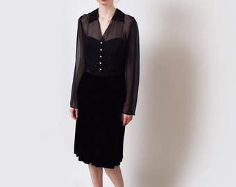 Black Silk Illusion Dress with Velvet Skirt Vintage Sheer Bodice with Sweetheart Neckline S