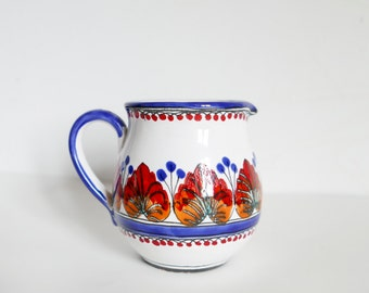 Creamer Milk Jug-Blue Red Folk Art-Ceramics Pottery-Hand Painted Rural Scene Ceramic-Decor-Country Style-Farmhouse Decor-Vintage Retro