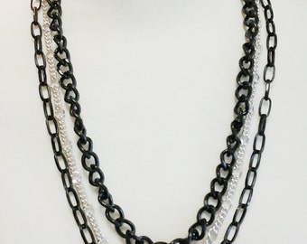 Black and Silver Chain Three Strand Long Necklace / Three Strand Black Chain Long Necklace.