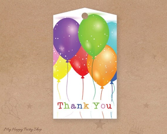 Balloon Tag: Balloons Favor Tags Balloons Thank You Tags Birthday Party