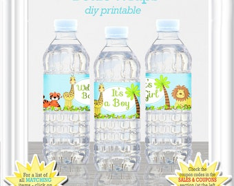 WATER BOTTLE LABELS - (Drink Wraps) in 3 different styles, baby shower labels, baby safari themed water bottle labels, 15BA