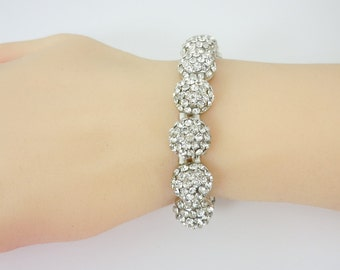 Wedding Bracelet, Bridal Bracelet, Rhinestone Bracelet, Stretch Bracelet, Rhinestone Half Ball, Brides Bracelet