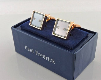 Gold Tone Mirrored Wtih Rhinestones Paul Fredrick Cuff Links