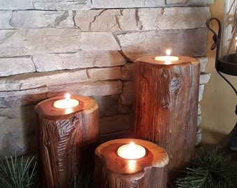 Set of 3 Blueberry Juniper Candle Holders