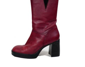 Vintage 90s Red Leather Chunky Heel Club Kid Platform Boots Size 8.5