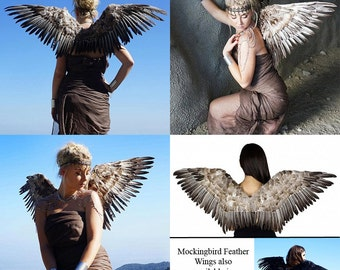 Natural Feather Wings (55-N) ~ Stunning and Unique for Costume, Events, Fantasy & Dress up!  Made of Goose Quills and Nagoire Feathers.