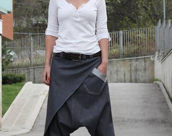 Drop Crotch Pants / Denim Pants / Harem Pants Women / Unisex Pants / Three Pockets / Boho Clothes / Baggy Pants P11717