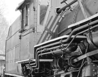 Steam train, steam locomotive, industrial wall art, fine art print, black and white photograph, train wall art, train decor, Father's Day