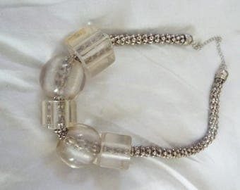VINTAGE 1960's Necklace in Lucite and Silver Tone ...chain is like chain mail and the two round and three squares