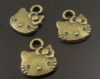 Antiqued Bronze Cat Head Pendant Charms  Hello Kitty charm Cat charms 10 charms