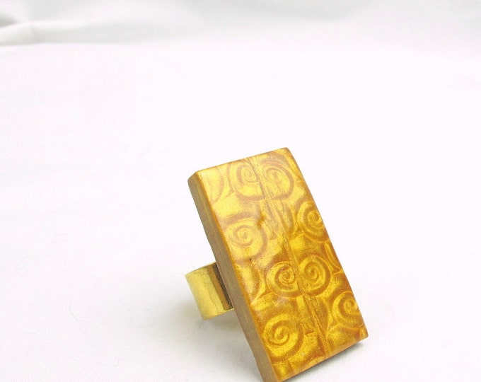 Large Gold Colored Handmade Mica Shift  Polymer Clay Adjustable Ring
