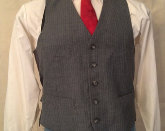 1970s Gray Pinstripe Vest - Mens Light Gray Suit Vest - size Medium - Gangster Vest - Banker Vest