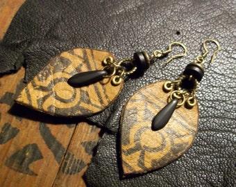 Tribal Earrings-Leather Earrings-Earthy Earrings-Bohemian Earrings-Beaded Earrings-Tribal Jewelry