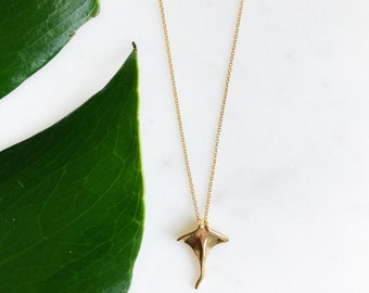 18k Gold Plated Bat Ray Necklace on 16 Inch Chain