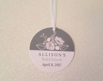 "FLORAL Bridal Shower Favor Tags * Wedding Shower Gift Tags *Baby Shower Floral Tags *Pink & Gray Floral Tags *2.25"" *PERSONALIZED"