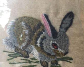 Crewel Set of 4 Vintage 1973 Small Animals Bunny Chipmunk Squirrel Raccoon framed Originals