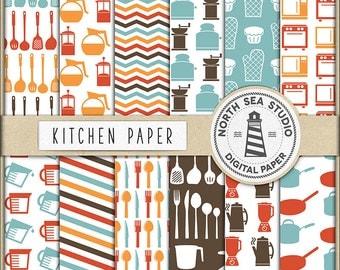 Kitchen Digital Paper, Kitchen Utensils Crockery Backgrounds, Retro Kitchen Papers, Kitchen Tool Patterns, Coupon Code: BUY5FOR8
