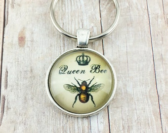 Queen Bee Key Ring - Queen Bee Key Chain - Bee Accessories - Bumble Bee Keychain - Queen Bee Key FOB - Bumble Bee Key Ring - Gifts Under 10