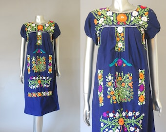 Oaxacan dress | embroidered Mexican dress | folk cotton tent dress