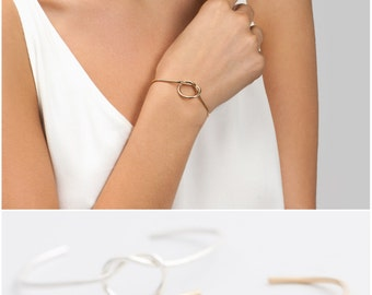 Knot Cuff Bracelet, Gift for Her, Love Knot Bangle Bracelet, Bridesmaid Gift, Gold Bangle, ...
