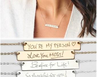Handwriting Jewelry, Memorial Handwriting, Engraved Actual Handwriting Bar Necklace, Personalized Keepsake,  Loss of Loved One [HW 638]