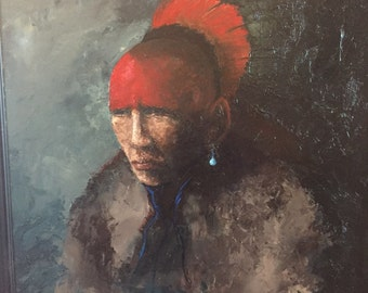 Large Canvas Original Oil Painting Natvive American Osage Warrior