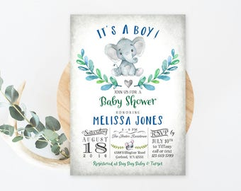 Elephant Baby Shower Invitation Boy Baby Shower Invitation Baby Boy Little Peanut Baby Shower Invites Printable OR Printed No.634BOY