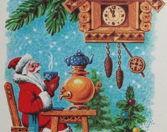 Happy New Year! Vintage Soviet Postcard. Illustrator Tsessin - 1991. Radyanska Ukrayna. Santa Claus, Father Frost, Cuckoo Clock, Samovar