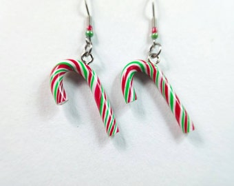 Red and Green Candycane Christmas Candy Charm, Peppermint Earrings, Miniature Food Jewelry, Candy Jewelry, Holiday Jewelry, Christmas Gift