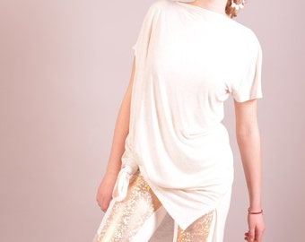 White Tunic Top, Womens Top, Asymmetric Tunic, Long Shirt, Summer Top, Jersey Top, Casual Shirt, Loose Blouse, Asymmetric Blouse