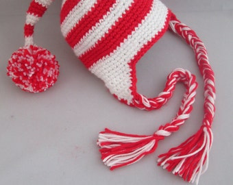 Peppermint Candy Cane Handmade Crocheted Christmas Ear Flap Hat/ Baby Photography Prop/Winter Hat