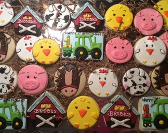 Farm Animal and Barn Cookies- Decorated Sugar Cookie Animal Set- 1 dozen