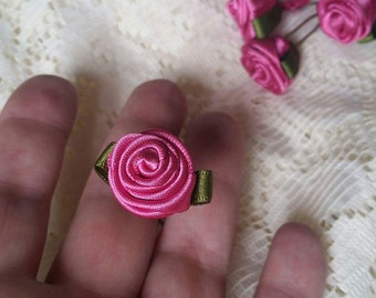 6 Ribbon rose bobby pins, available most colours.