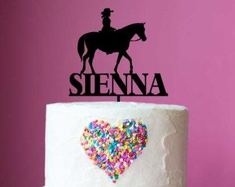Birthday Acrylic Cake Topper - Name & Girl Riding Horse #1 (ARC16108) MADE IN Australia