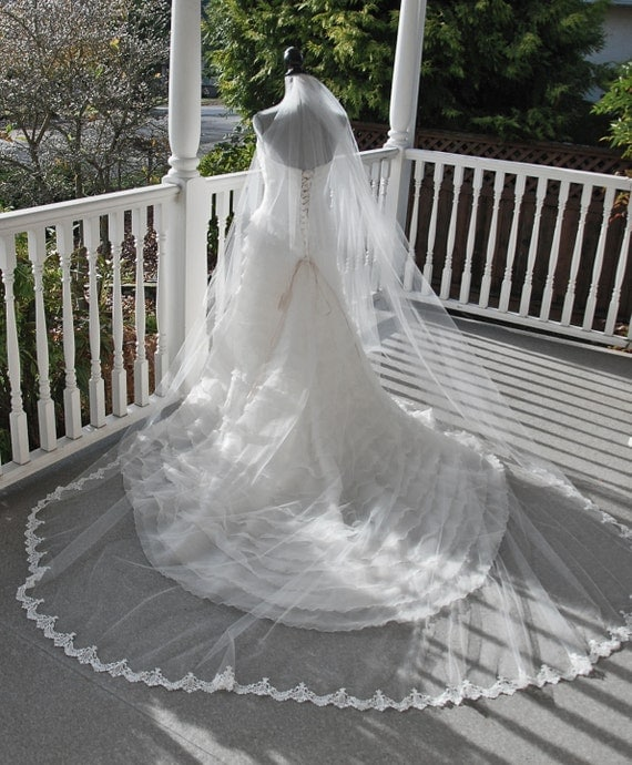 Diamond white cathedral length lace edged veil;cathedral veil with lace edge;wedding veil